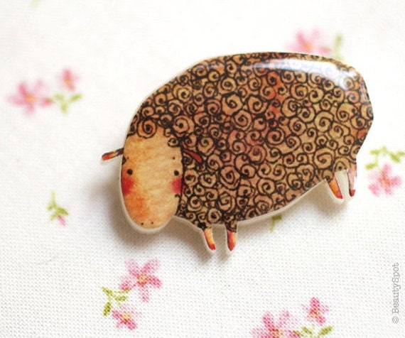 Lamb Brooch - Sheep brooch - Cute animal brooch - Brown brooch - Cute brooch - Cute pin (BH004)