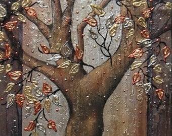 Large art Original Textured Landscape Abstract Tree Painting Modern Palette Knife