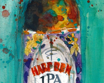 Harpoon Brewery IPA Beer Art Print from Original Watercolor  Giclee or Archival Print College Dorm or Man Cave
