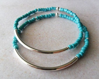 Double Turquoise Skinny Stretch Bracelets . Silver Curved Bar . Minimalist