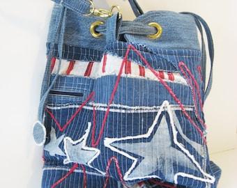 Bucket Bag Blue Denim with patriotic USA theme Nautical drawstring bag