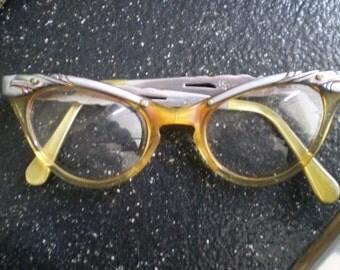Pink eyeglasses etsy for Art craft eyeglasses vintage