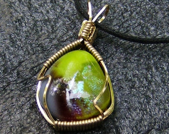 Dichroic Glass Pendant - Handmade Gold Wire Wrapped, Lime Green,  Maroon & Flashy by JewelryArtistry - P601