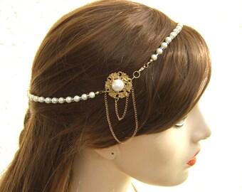 20% OFF,Gold Pearl Hair Piece, Bridal Headband , Pearl Hair Jewelry, Bridal Halo ,Hair Accessories, Wedding Hair Jewelry