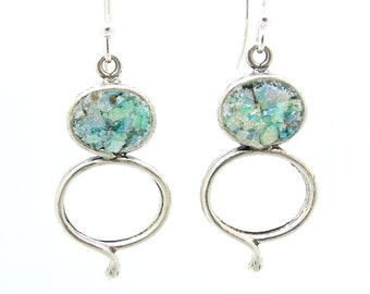 Silver & Roman glass dangle earrings