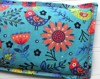 Heating Pad Ice Pack - Microwaveable Flax Seed and Lavender Warm Compress, Cold Compress, 4 Sizes available - Folk Art Birds