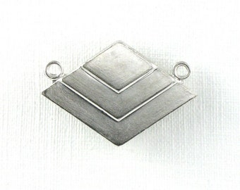 As-Is SALE 5 silver CHEVRON geometric jewelry pendant. 17mm x 24mm (ST65)
