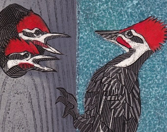 Pileated Woodpeckers 1 - Original Collograph Print of Woodpeckers, blue, red, black