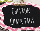 6 PINK ONLYChevron Chalkboard Tags with Chalkboard Labels - set of 6 - Basket Labels, Gift Tags, Wedding Chalkboards  26 COLORS