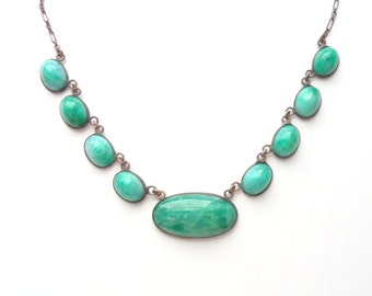 Art Deco Peking Glass Necklace. Ovals. Open Chain.