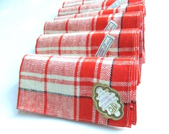 6  Linen Napkins Czech Red Plaid Retro Kitchen 1950s