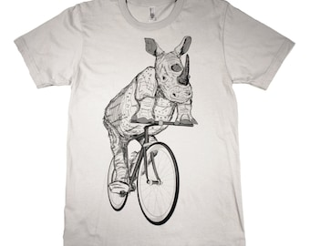 Mens RHINO on a BIKE american apparel T Shirt xs s m l xl xxl