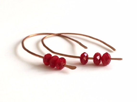 Copper Earring Hoops Red Crystal Beads