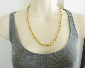 Vintage simple gold  cable chain necklace