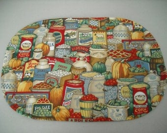 Country store food supplies placemats (set of 4)