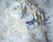 White Heart Lavender Sachet Hand Made Vintage Linen Rose with Rhinestone Center