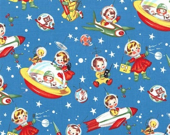 Retro Rocket Rascals- 100% Cotton Fabric by the Yard By Michael Miller Vintage Look, Adorable!