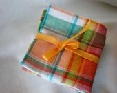 Orange Plaid Hankies -set of 2 -Free Shipping- Dad Men Christmas Birthday Cotton Seersucker