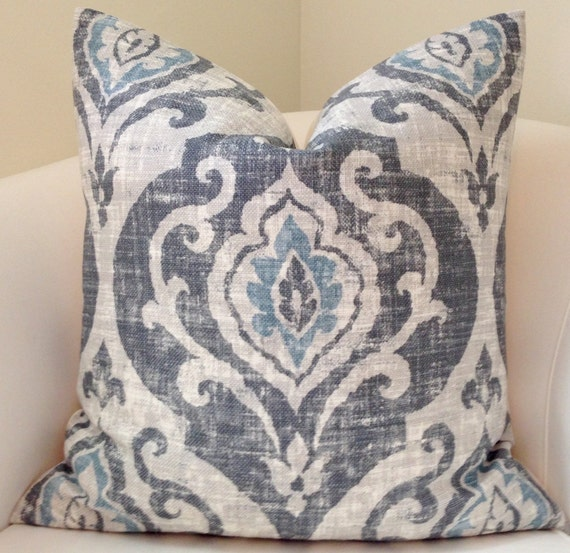 blue gray pillow cover throw pillow ikat pillow decorative. Black Bedroom Furniture Sets. Home Design Ideas