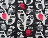 2548C - Sale - Lovely Owl Fabric in Black , Kawaii Bird Fabric, Animal Fabric