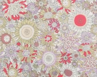 2554D - Sunflower Fabric in Rose Red and Light Purple Color Combo , Flower Fabric , Blossom Fabric