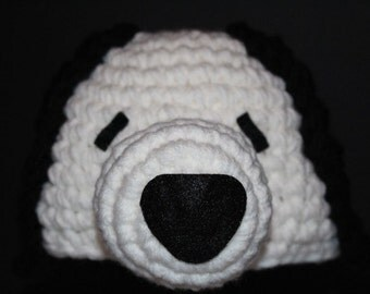 Dog hat 17in -  Unique and fun handmade character hat made to look like a white dog with black ears - Snoopy colors