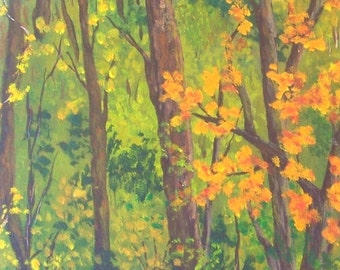 8x10 Original Autumn Color Change Painting North Carolina Woodland acrylic painting with Free US Shipping Orange Green Brown Gold Art