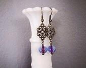 Brass Earrings Victorian Inspired Earrings Blue and Pink Earrings Bohemian Earrings Dangling Earrings Antiqued Brass Gypsy Jewelry