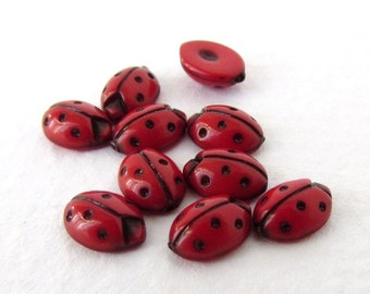 Vintage Plastic Cabochon Red Lady Bug Tiny Dotted Insect Japan 7mm pcb0314 (10)