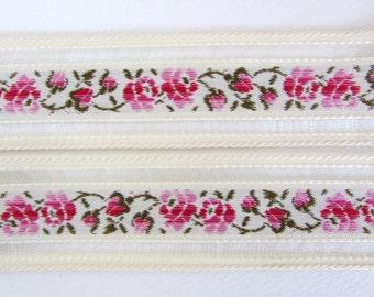 Vintage Trim Woven Jacquard Ribbon Beige Pink Green Rose Flowers Leaves Mesh West Germany rib0152 (1 yard)