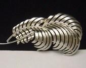 TRIFARI silver tone Feather plume brooch pin
