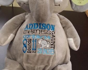personalized baby gift, stuffed plush, elephant kids personalized stuffed animal keepsake, baby gift, Embroider Buddy