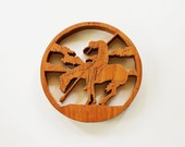 End of the Trail - Vintage Hand Carved Wood Burned Wall Hanging - Home Decor - Western - Native American - Rustic - Horse