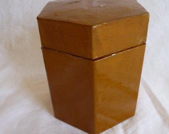 SALE vintage container, hexagon container, lid container, vintage storage, brown container, unique design, shiny finish, home decor, unique