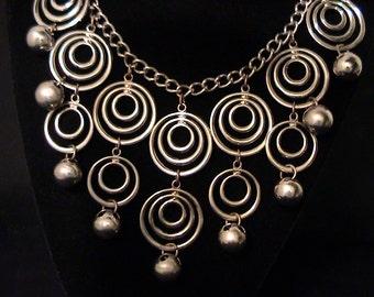Vintage MONET JEWELERS Silver Modernist Bib Necklace