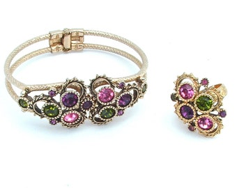 Rhinestone Bracelet, Cocktail Ring, Amethyst Purple, Peridot Green, Pink Clamper Bracelet Statement Ring Vintage Costume Jewelry