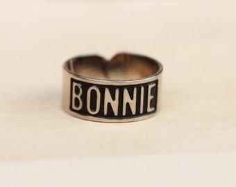 Silver Vintage Name Ring - Bonnie