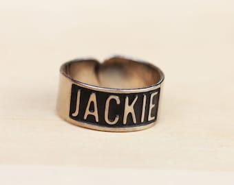 Silver Vintage Name Ring - Jackie