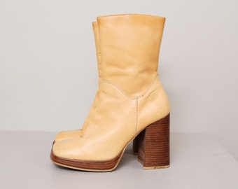 1990s Platform Boots - Brown Leather Platform Ankle Boots - Size 7