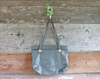 1980s purse | grey leather handbag