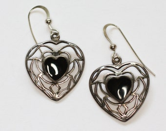 Onyx Heart Dangle Earrings Sterling Silver Pierced Ears Filigree Vintage