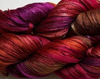 Moonbeam, Hand dyed ribbon yarn, 150 yds - Red Oak