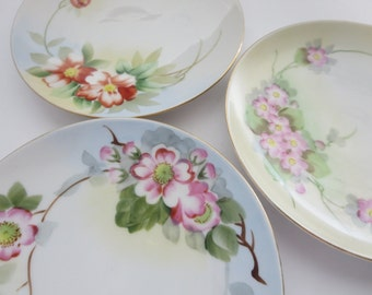 Vintage Missed Matched Roses China Saucers - Hand painted made by Nippon - Instant Collection - Shabby Floral saucers