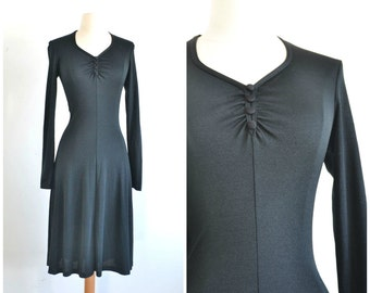 70s Vintage Fitted Slinky Black Jersey Knit Dress - xs  extra small