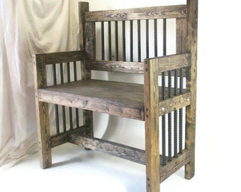 Industrial Furniture - Rustic Reclamed Wood Bench