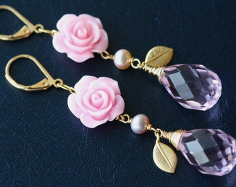 Pink Rose Lavender Briolette Bouquet Earrings, Weddings, Bridal Jewelry, Bridal Shop, Retro Trend, Pink Jewelry