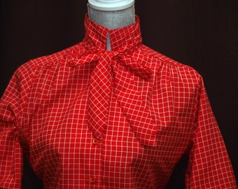 Red Sqaures Checked Secretary Blouse