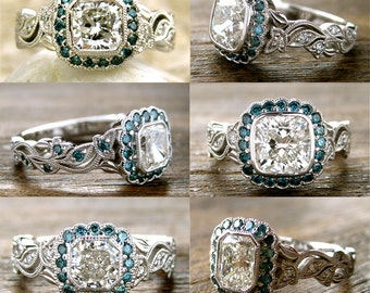 Order Your Diamond Vine Engagement Ring with Teal Diamonds - For Deposit Only