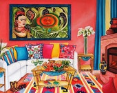 Mexican Print Frida Kahlo, Still Life Interior, Sun and Life, Margaritas, Pillows ,Calla Lilies, Fireplace Fruit, Books,