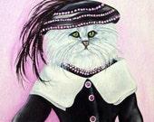 Cat Portraits, Cat Paintings, Cats in Clothes Paintings, Cats Wearing Clothes, Big Hats, Cat Art, Original Painting by k Madison Moore